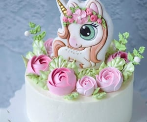 birthday, cake, and unicorn image