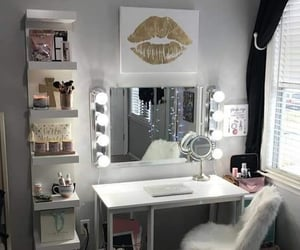 mirror, bedroom, and makeup image