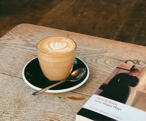 books, coffee, and latte image