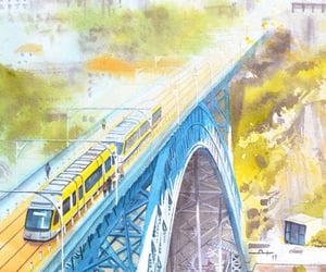background, buildings, and train image