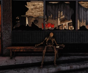 bench, fallout, and skeleton image