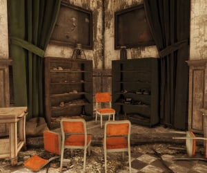 abandoned, chairs, and deserted image