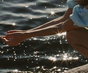 girl, sea, and vintage image
