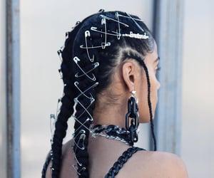 black hair, braids, and tresses image