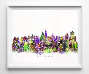 cityscape, watercolor painting, and homedecor image