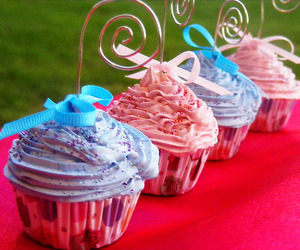 blue, cupcakes, and pink image