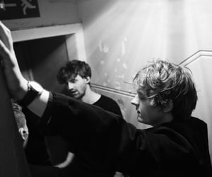 backstage, black and white, and concert image