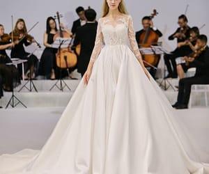bridal, bridal gown, and satin wedding dress image