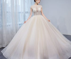 beading, bridal, and tulle wedding gown image