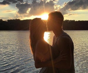 sunset, love, and couple image