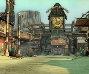 clock tower, borderlands, and desert image