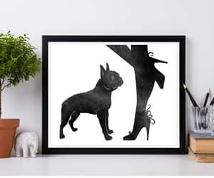 boston terrier, etsy, and woman with dog image