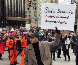protest, sign, and she's someone image