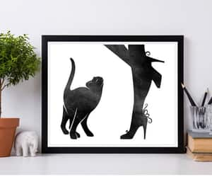 bedroom decor, black watercolor, and personalized art image