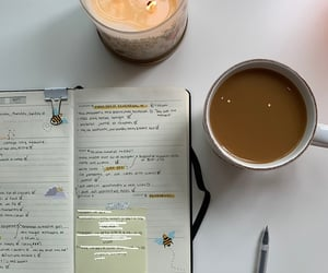 candle, coffee, and studying image