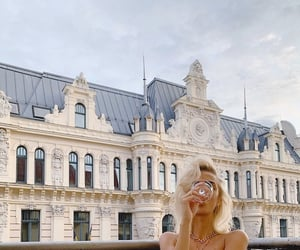 blonde, building, and girl image