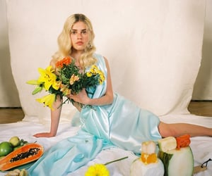 blue, fashion model, and flowers image