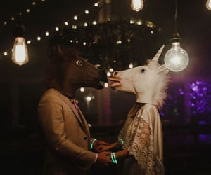 couple, fun, and horse image
