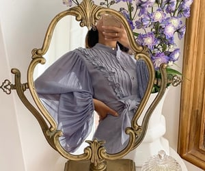 fashion, mirror, and flowers image