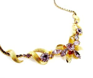 rhinestone, purple orchid, and orchid necklace image