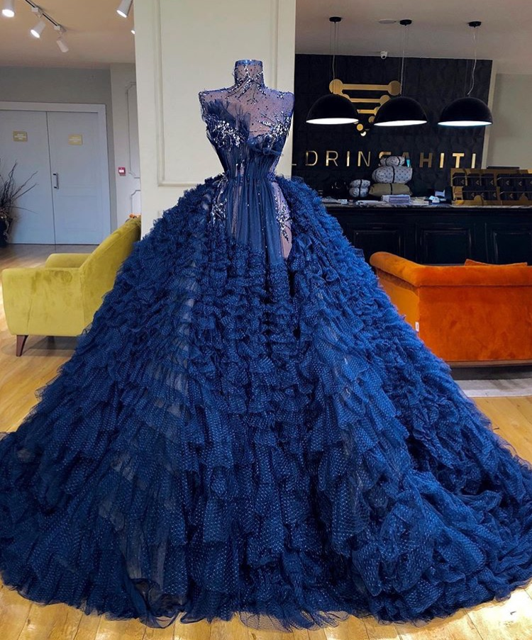 dress, blue, and haute couture image