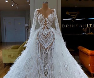 dress, white, and haute couture image