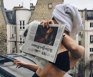 girl, newspaper, and style image