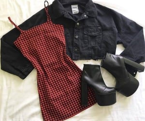 boots, dress, and denim image