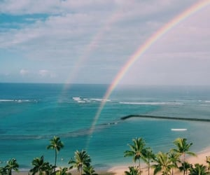 beach, ocean, and rainbow image