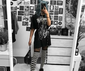 black, black and white, and clothing image