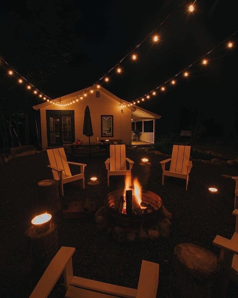 bonfire, chairs, and house image