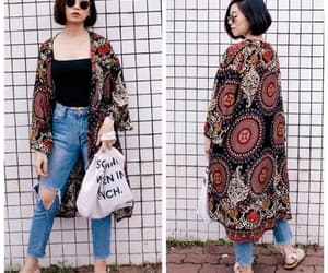 bohemian, boho style, and long cardigan image