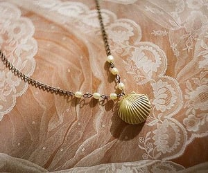 lace, necklace, and shell image