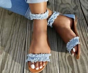 flats, jeans, and sandals image