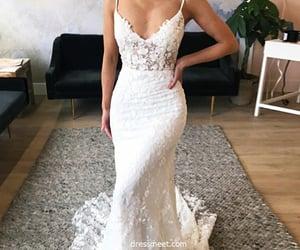 bridal gown, beach wedding dress, and mermaid wedding dress image
