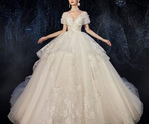 backless, ball gown, and lace flower appliques image