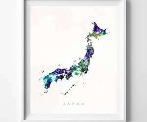 art print, japan, and watercolor map image