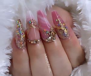 uñas, uñas acrílicas, and uñas rosas image