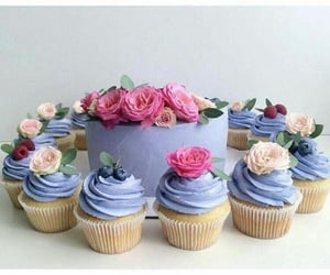 berry, cupcake, and flowers image