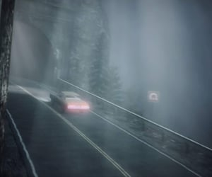 car, road, and eerie image