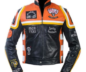 harley davidson jacket, leather motorcycle jacket, and marlboro jacket image