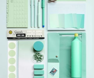 desk, green, and mint image