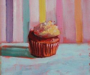 art, blue, and cupcake image