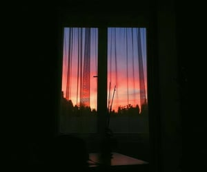 sunset, view, and window image