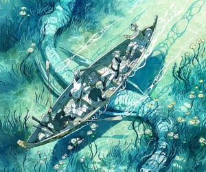 art, illustration, and lake image
