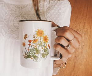 coffe cup, flora, and vintage image