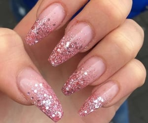 pink nails, glitter nails, and pink glitter image