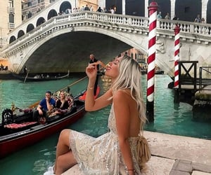 blonde girl, canal, and chilling image