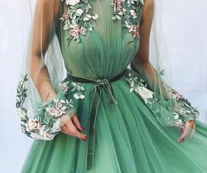evening dress, floral print, and romantic image