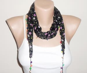 black scarf, lilac, and etsy image